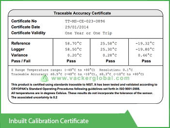 Inbuilt Calibration Certificate VackerGlobal